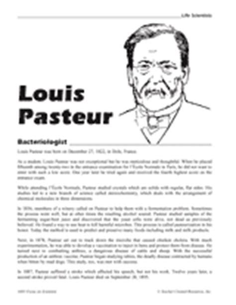 Louis Pasteur, Bacteriologist Printable (4th  8th Grade) Teachervisioncom
