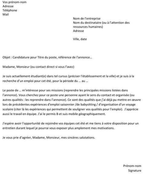 lettre de motivation employé de bureau lettre de motivation simple pour emploi model des lettres