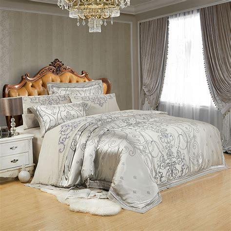 silk comforter sets luxury silk bedding set 4 6pcs bedclothes silver bedlinen 2220