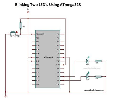simple led projects  avr microcontroller led blink