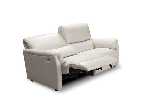 Contemporary Leather Reclining Sofa by Biaggio Italian Light Gray Leather Reclining Modern Sofa