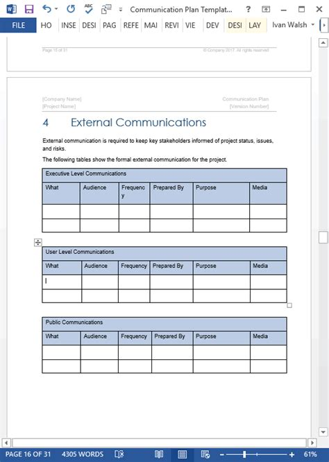 communications plan template word communication plan templates ms word 5 spreadsheets