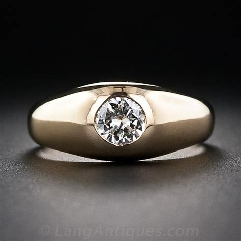 carat diamond estate flush set ring