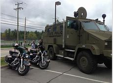 New Hampshire State Police armored vehicle and