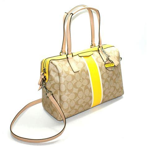 coach signature stripe nancy pvc satchel crossbody bag yellow  coach