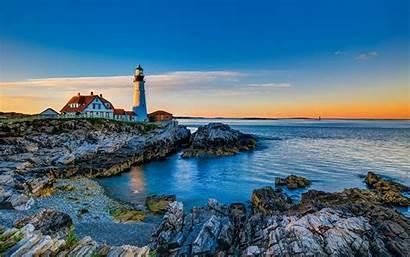 Lighthouse Portland Wallpapers Landscape Head Sunset Desktop