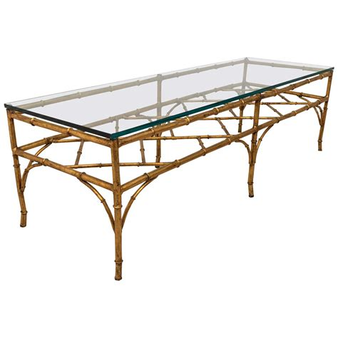 faux bamboo table l a midcentury faux bamboo gilded metal coffee table with