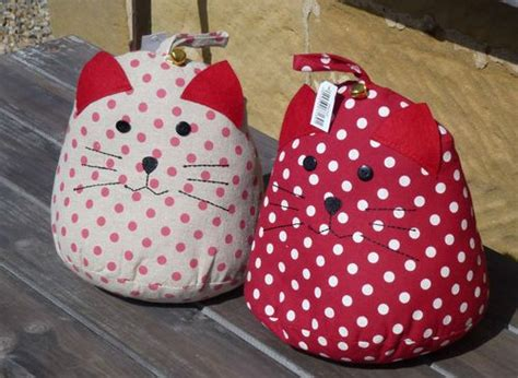 shabby chic fabric door stop vintage shabby chic polka dot red cream spotty cat with bell fabric door stop shabby chic le
