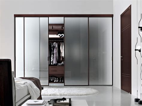 Frosted Glass Sliding Door For Closet In The Bedroom With