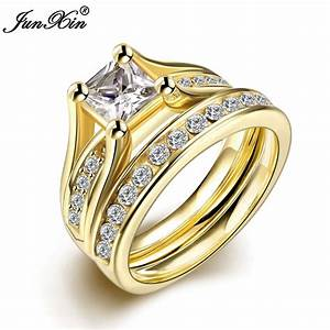 Junxin geometric design male female yellow gold plated for Wedding rings for male and female