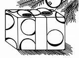 Coloring Mistletoe Presents Under sketch template