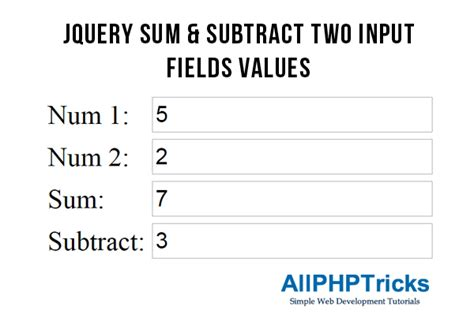 jquery sum subtract two input fields values all php tricks