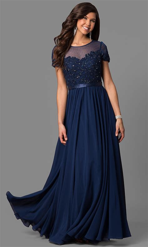 Illusion-Bodice Short-Sleeve Long Prom Dress -PromGirl