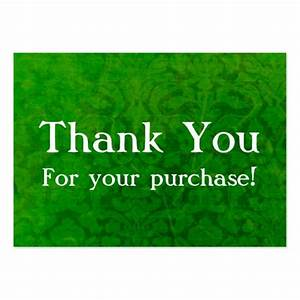 Green vintage thank you for your purchase cards large for Purchase business cards