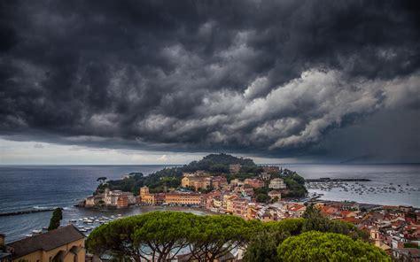storm   city sestri levante mediterranean italy wallpaper  hd