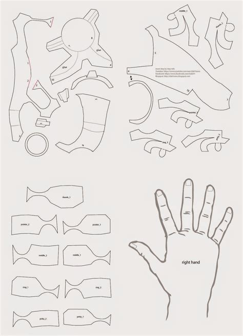 free armor templates dali lomo iron diy with cereal box pdf template