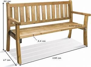 banc en bois avec dossier 150 cm philadelphia achat vente With plan de banc de jardin en bois