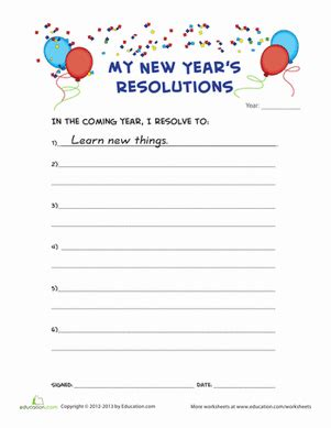 new year s resolution worksheet education