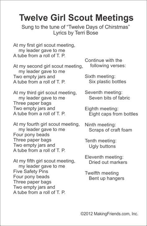 girl scout song sheets makingfriendsmakingfriends