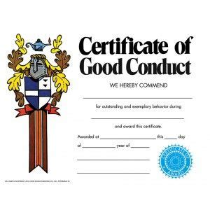 Good Conduct Form by Free Download Good Conduct Template All Form Templates