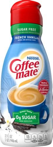 Nutritional information, diet info and calories in french vanilla, sugar free from coffee mate. Foods Co. - Coffee-mate Sugar Free French Vanilla Liquid ...