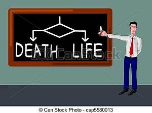 Drawings of man with death-life concept - man with ...