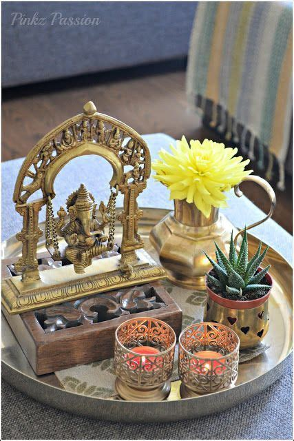 brass artifacts coffee table vignettes ethnic indian