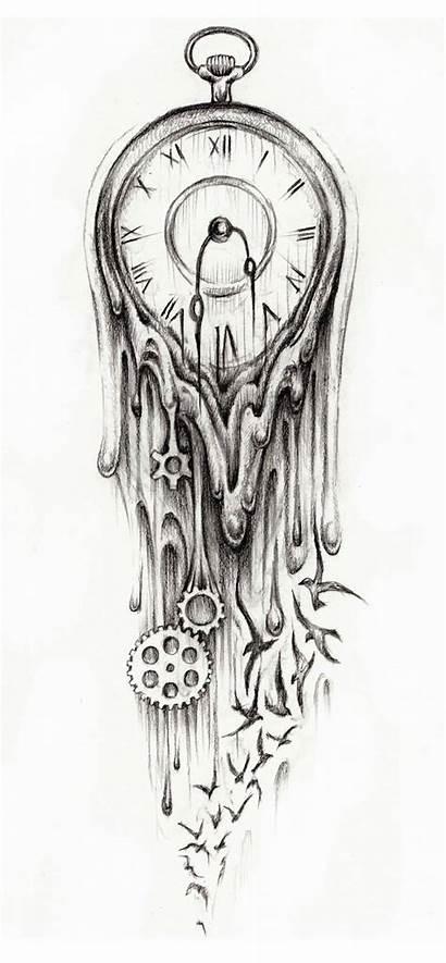 Tattoo Clock Designs Melting Latest Drawing Drawings