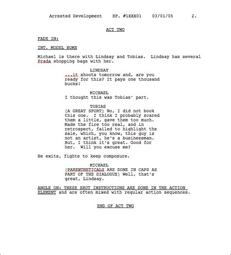 script format template draft templates