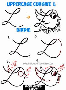 How to Draw Cartoon Bird with Worm from Uppercase Cursive ...