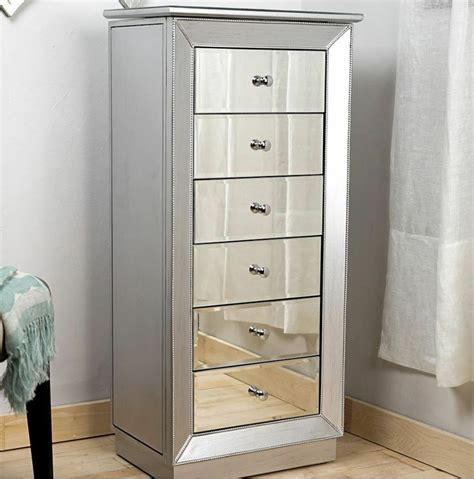 mirrored jewelry armoire large standing  drawer silver