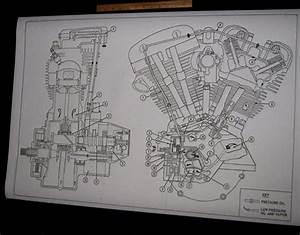 Details About Harley Davidson Shovelhead Engine Oil Map Blueprint Drawing Poster Print Fl Fx