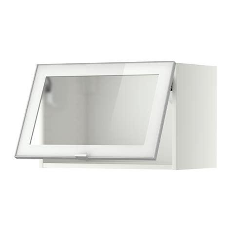 meuble de cuisine haut ikea metod élément mural horizontal vitré blanc jutis verre