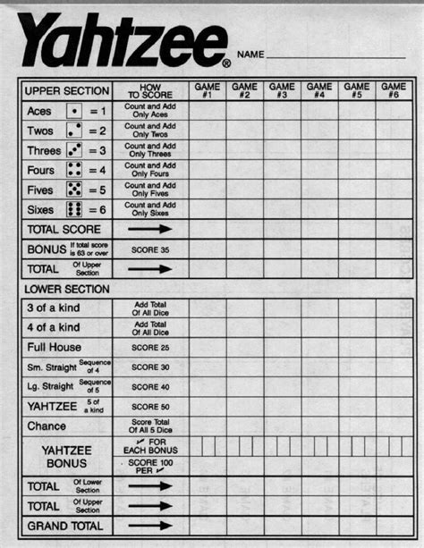 yahtzee score sheets printable activity shelter