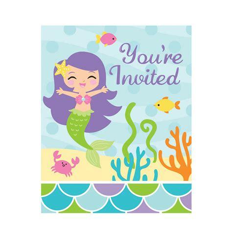 mermaid friends birthday invitations  pack   sea