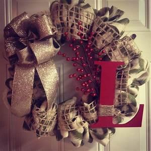 DIY burlap Christmas wreath   Wreaths   Pinterest