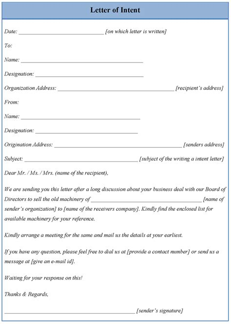 template  letter  intent full version