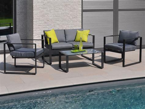 canapé de jardin aluminium salon de jardin bas en aluminium quot mekano quot 2 fauteuils