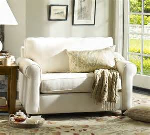 Buchanan Roll Arm Upholstered Twin Sleeper Sofa, Polyester Wrapped Cushions, Washed Linen/Cotton Ivory at Pottery Barn