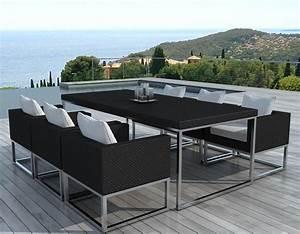 Table De Jardin Tressé : salon de jardin design 1 table 6 fauteuils ~ Teatrodelosmanantiales.com Idées de Décoration