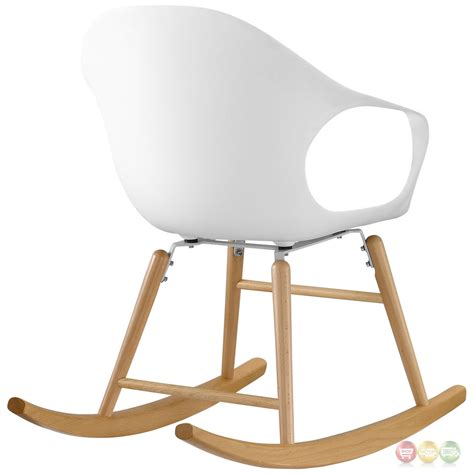 swerve modern molded plastic rocking chair with solid wood