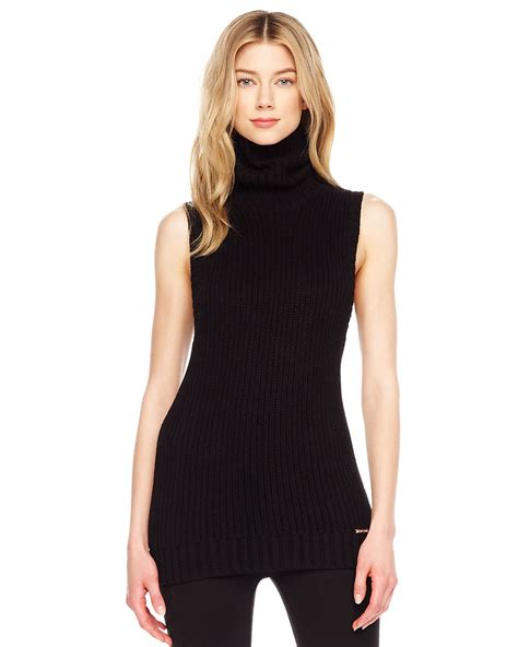 sleeveless turtleneck sweater michael kors ribbed sleeveless turtleneck in black lyst
