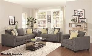Kelvington Grey Fabric Reclining Sofa and Loveseat Set