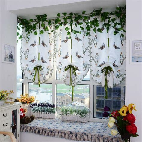 Light Filtering Fabric Fold Roman Shade Butterfly Printed