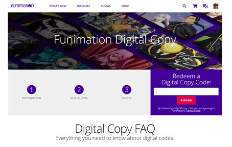 funimation digital copy redemption   work