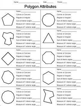 polygon attributes worksheet by kevin wilda teachers pay