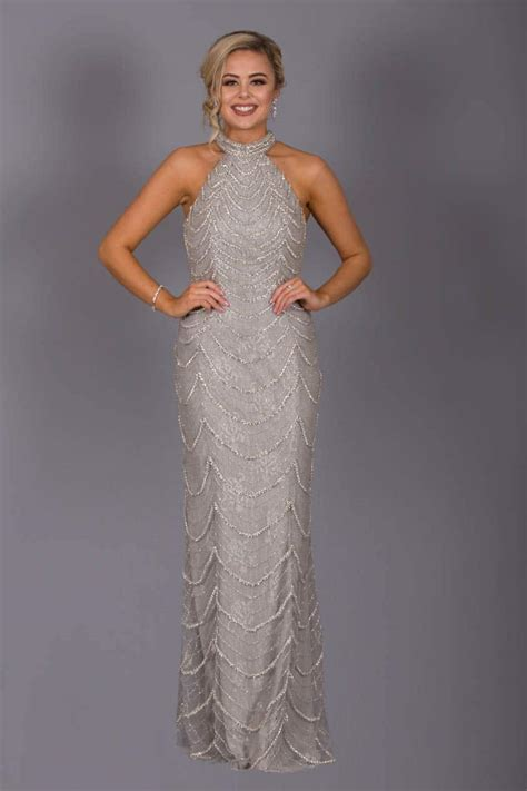 full length beaded dress af greysilver size