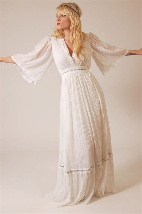 vintage dress 70 s slinky vintage 70s white boho princess wedding dress wedding