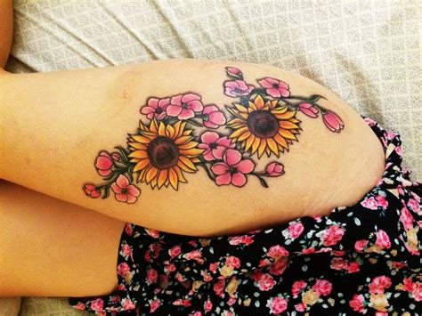 ideas  sunflower tattoos  pinterest sunflower tattoo thigh sunflower drawing