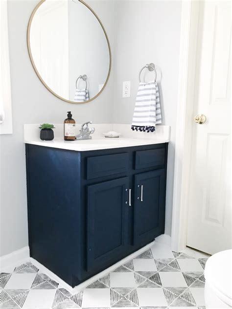 diy navy blue gold painted vanity bathroom
